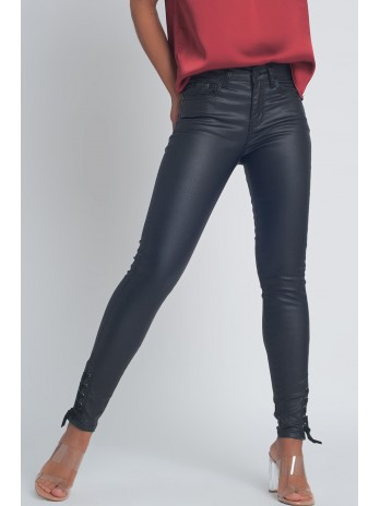 Black leather effect trousers with hem lace-up - brandsaddicted.com