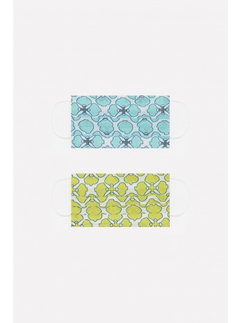 2 PACK organic cotton flower print Mask in green and turquoise - brandsaddicted.com