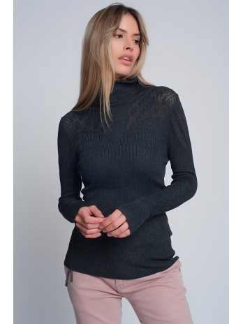 Soft ribbed sweater with turtleneck in gray - brandsaddicted.com